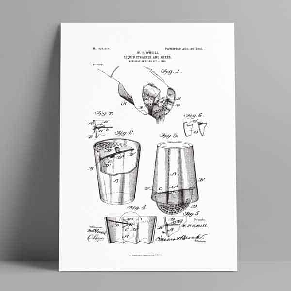 cocktail strainer patent poster