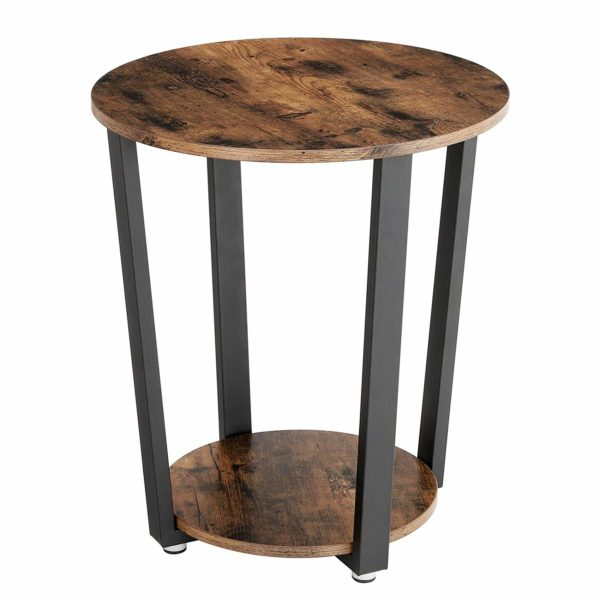 VASAGLE Industrial End Table, Metal Side Table, Round Sofa Table with Storage Rack, Stable and Sturdy Construction, Easy Assembly, Wood Look Accent Furniture with Metal Frame ULET57X