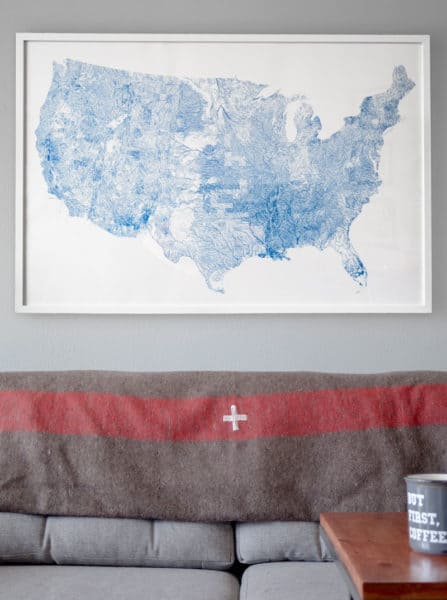 detailed map of America's rivers art