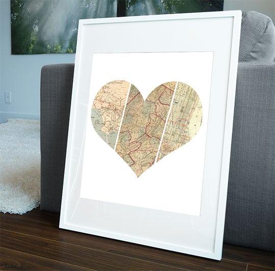 "Heart Map Print, 16"" x 20"""