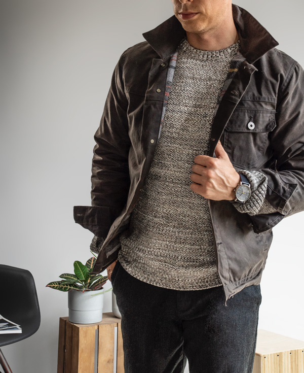 men texture sweater waxed canvas field jacket