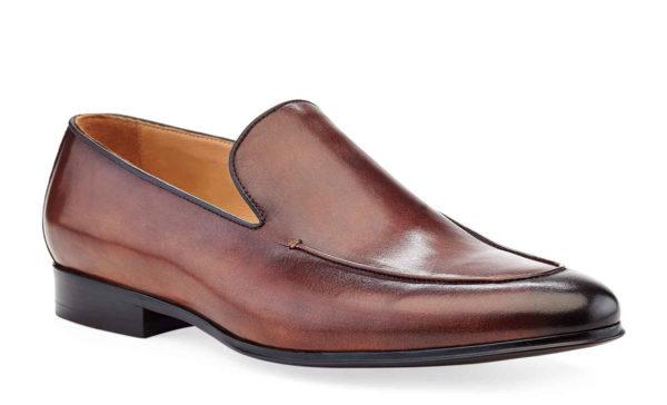 dark brown leather venetian loafer shoe
