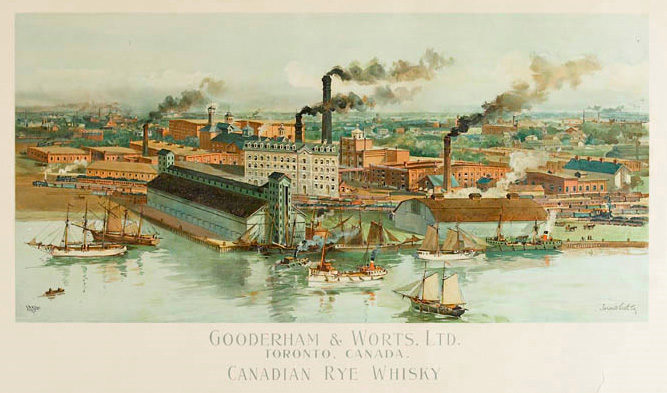 Gooderham and worts distillery in Toronto painting