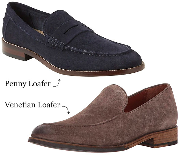 difference between penny loafer versus venetian loafer