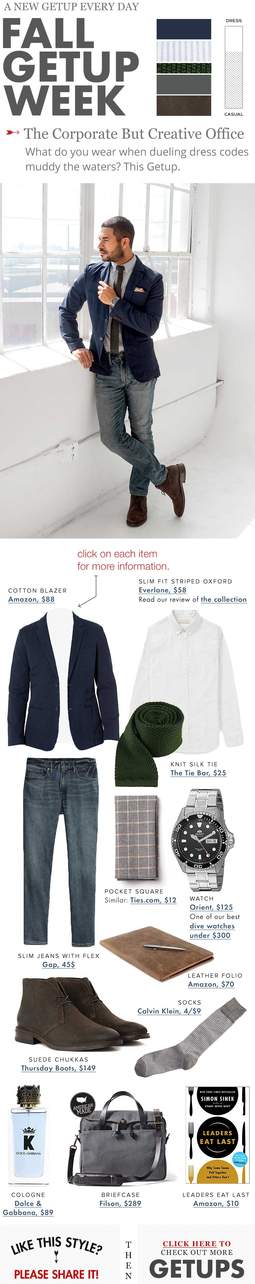 corporate creative office outfit cotton navy blazer knit tie striped shirt suede chukkas the getup