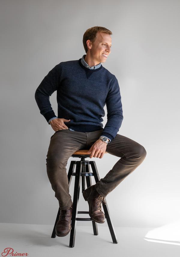 Andrew Snavely wearing a birdseye merino wool sweater