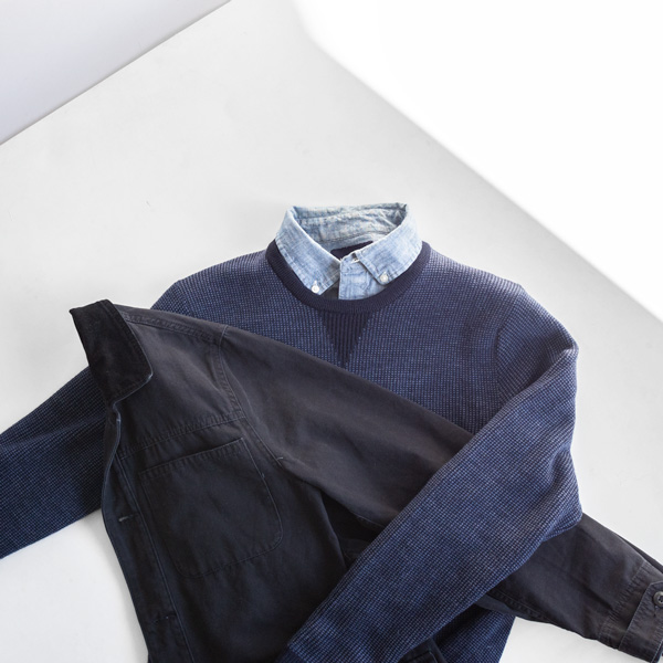black coat blue sweater chambray shirt men fall rugged fashion