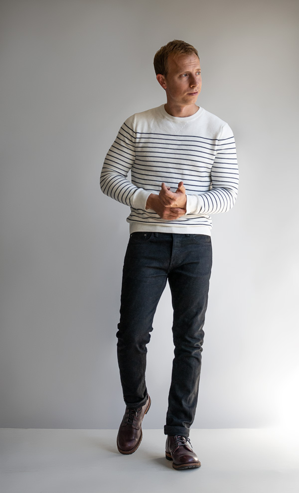 men striped sweater black jeans boots fall fashion