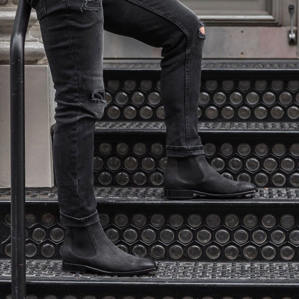 black suede chelsea boots men