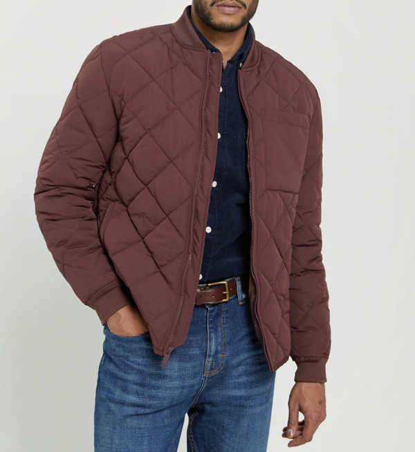 burgundy quilted bomber jacket frank and oak