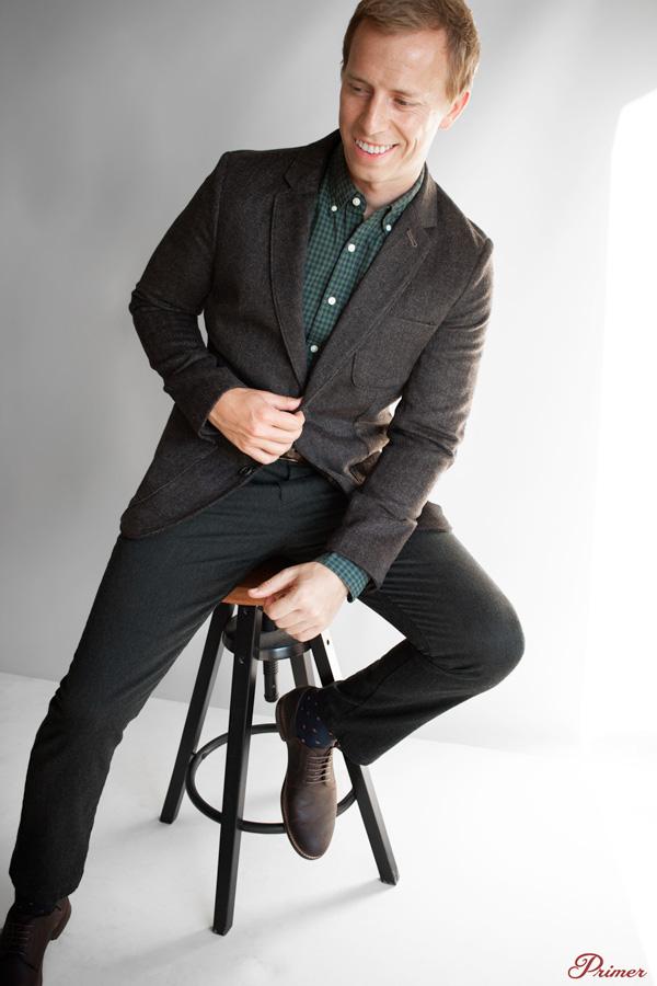 brown blazer green check shirt gray pants work outfit men