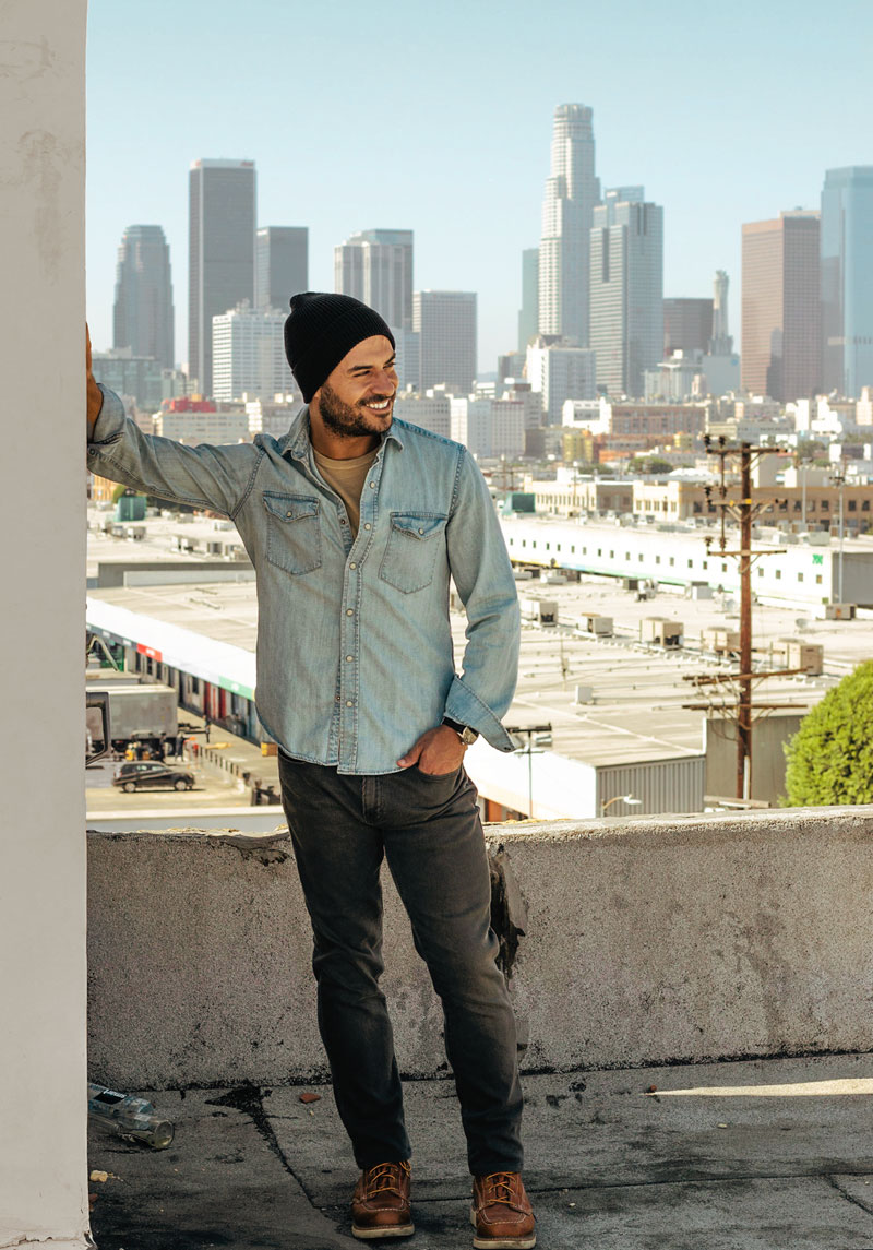 los angeles denim shirt watch cap