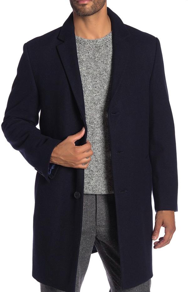 hart schaffner marx wool blend topcoat