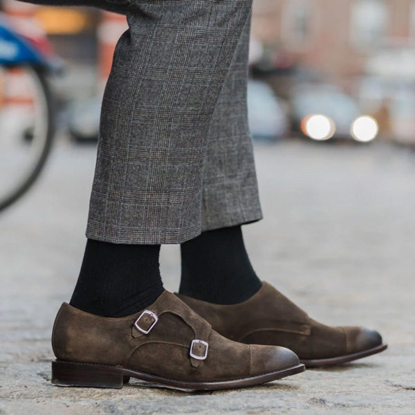 olive brown double monk strap dress shoes