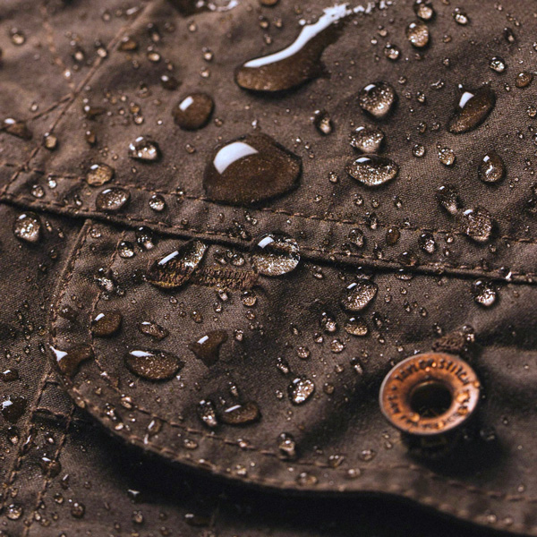 waxed canvas with water on it