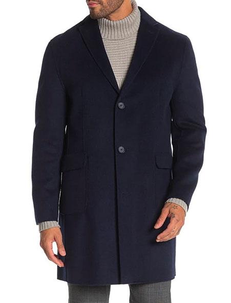 dkny walker overcoat in navy
