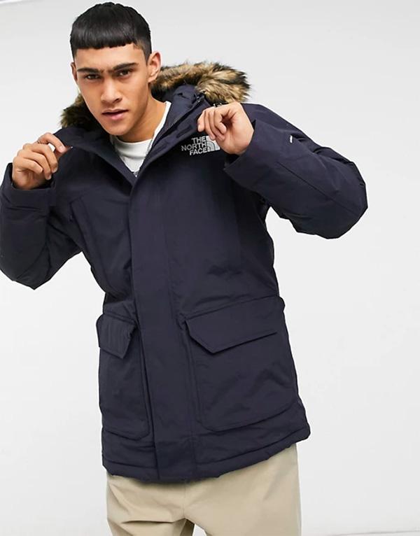 man wearing north face mcmurdo parka jacket