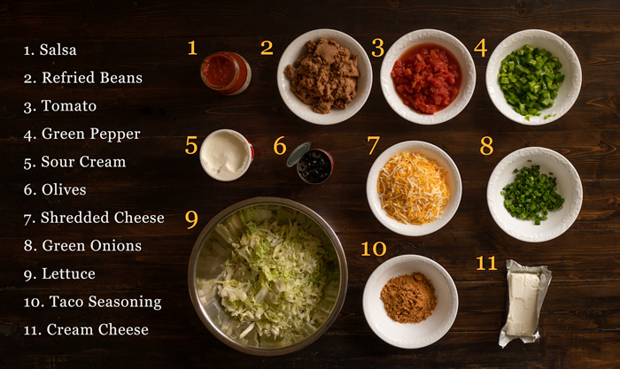 no bake 7 layer taco dip ingredients