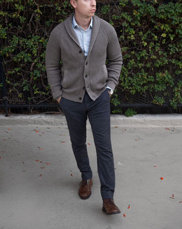 shawl collar cardigan dressed up business casual