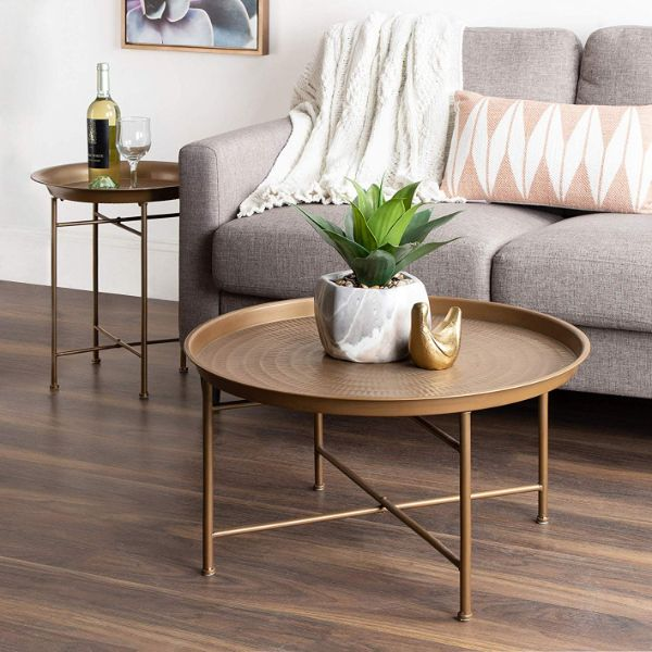 hammered metal coffee table intentional apartment