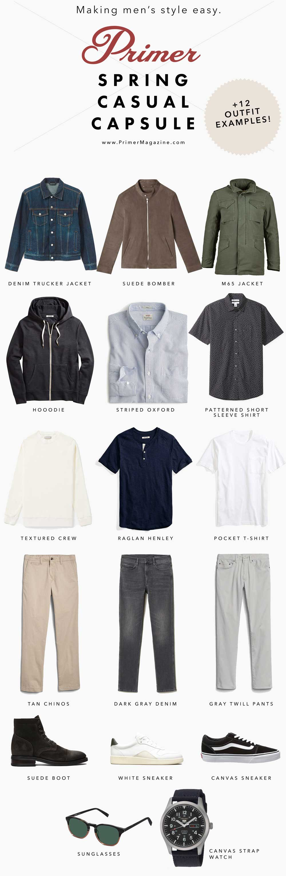 men casual spring style outfit ideas - capsule wardrobe men