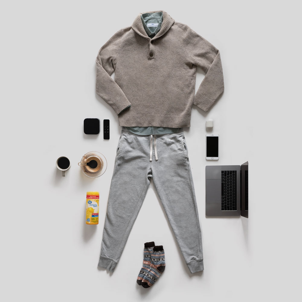 work from home outfit flatlay men fashion