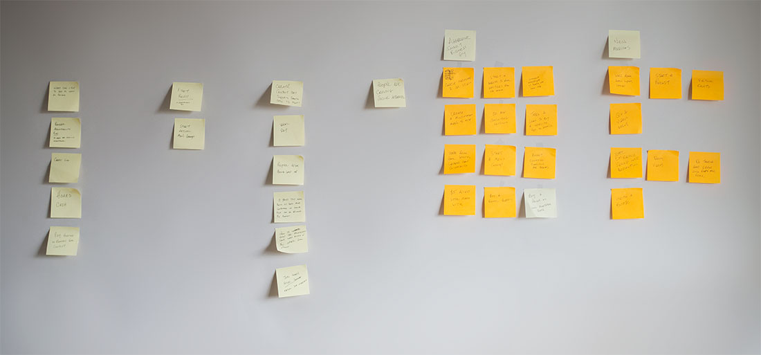brainstorm post it notes on wall