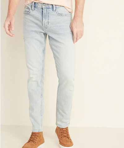relaxed slim distressed light wash jeans old navy deals