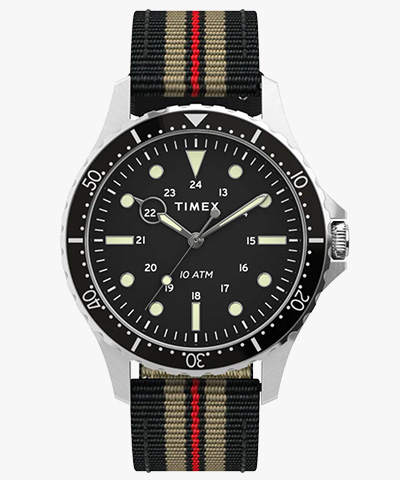 navy xl strap watch timex