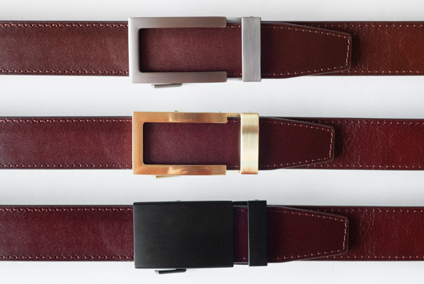 brown belts with silver gold and black buckles