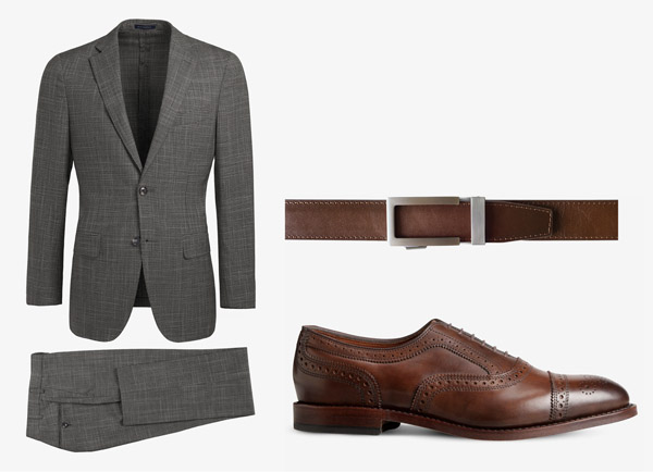 gray suit with brown belt and brown shoes