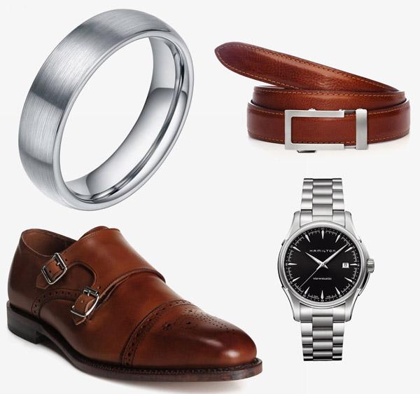 coordinating metals wedding ring belt watch