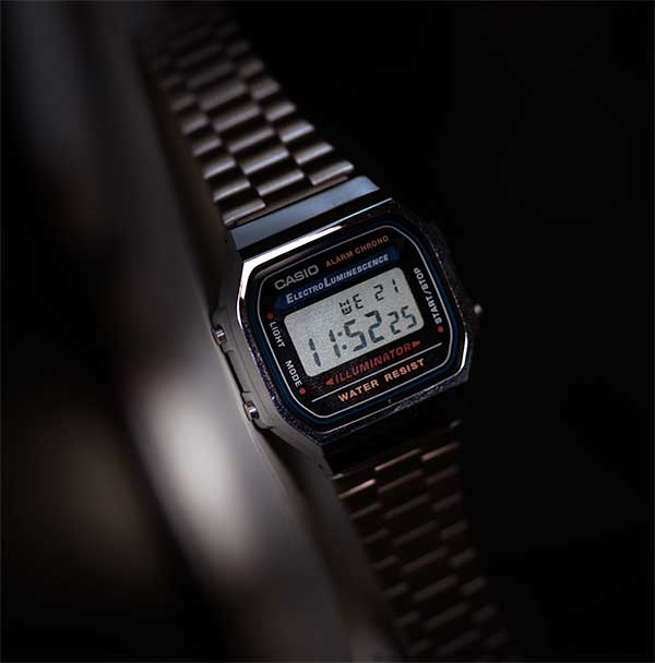 A close up of a casio digital watch
