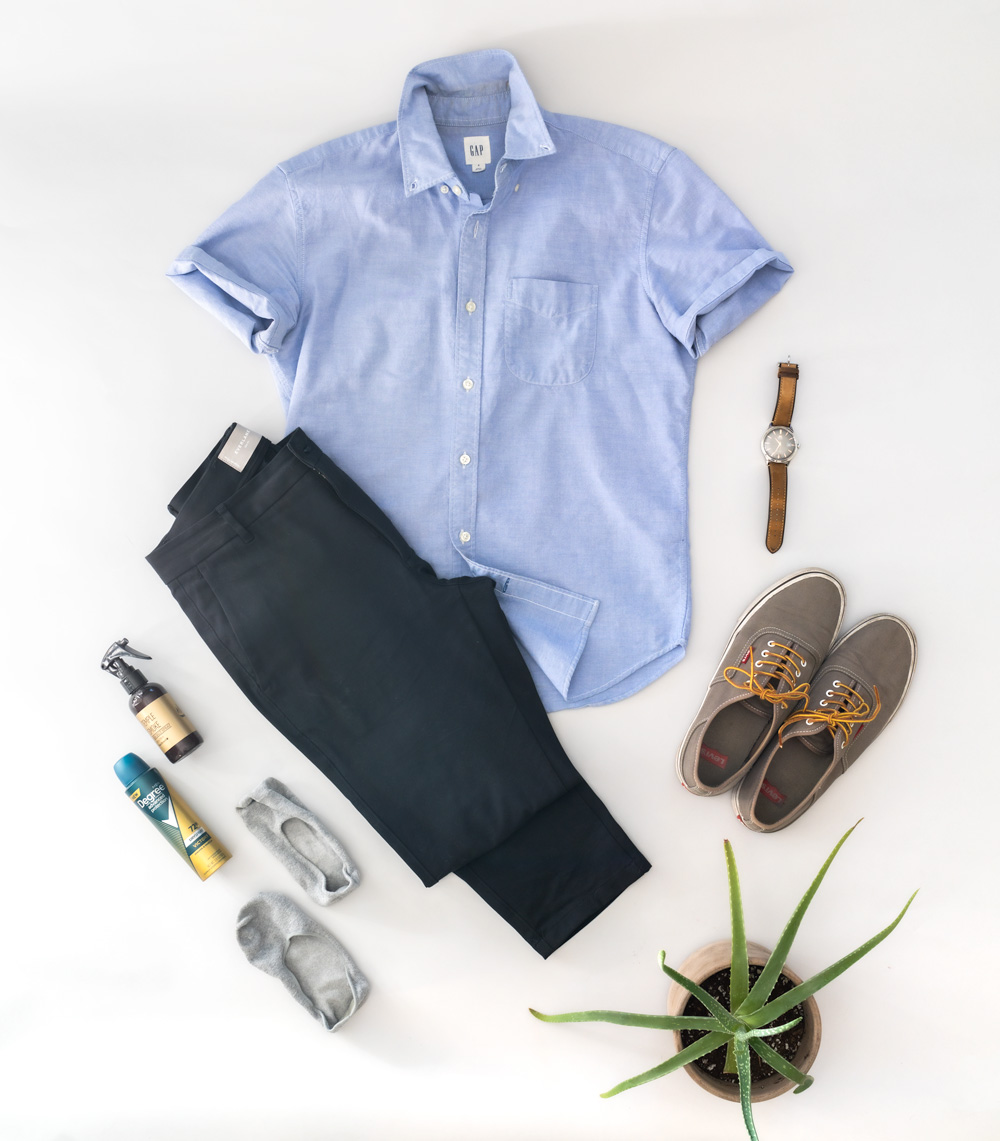 blue shirt chinos summer outfit men idea