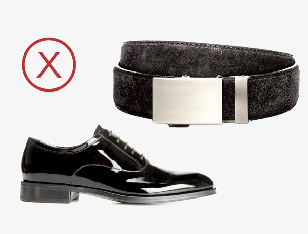 black suede belt patent leather shoes