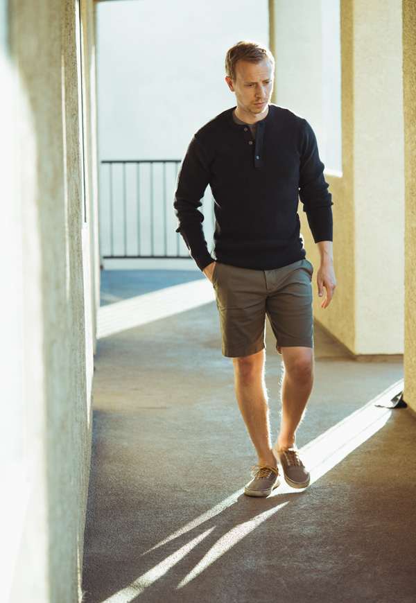 black knit henley with shorts