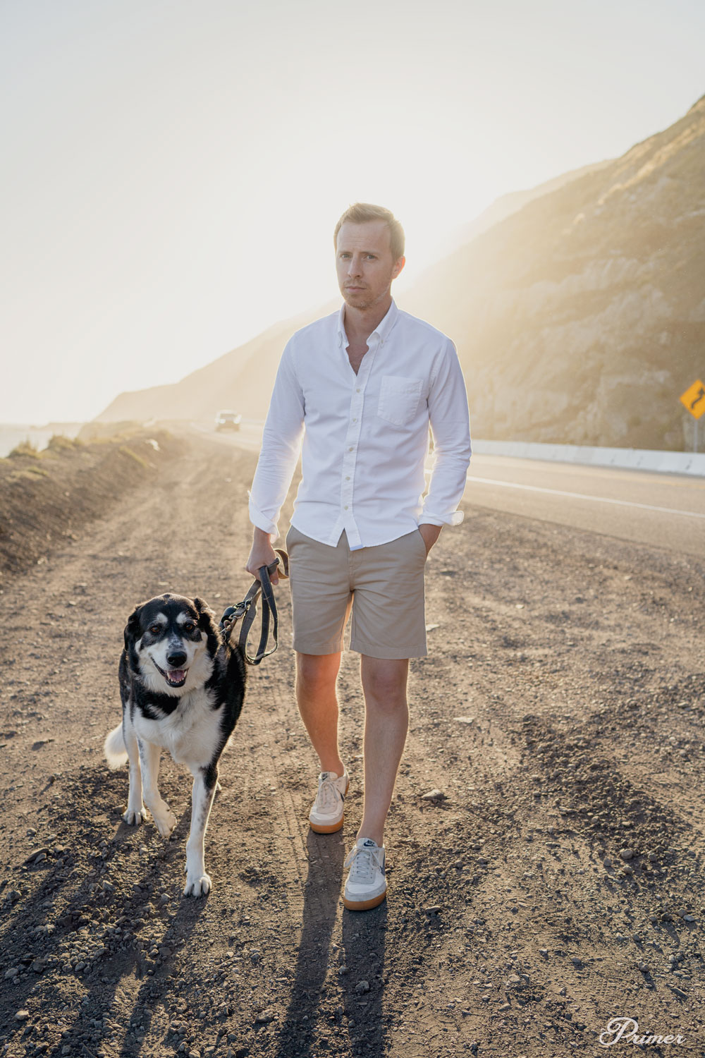 white oxford shirt with shorts and sneakers summer outfit ideas