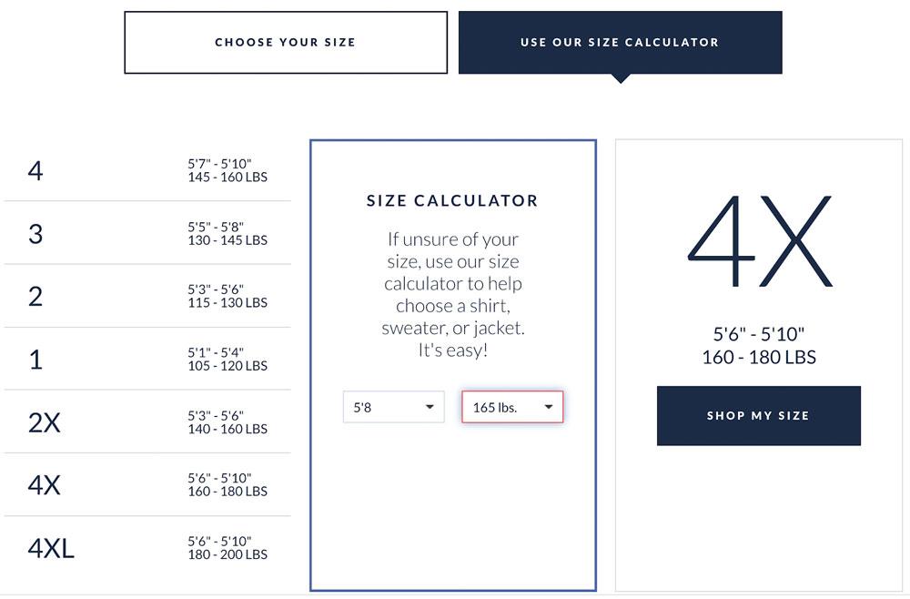 Peter Manning size calculator screenshot