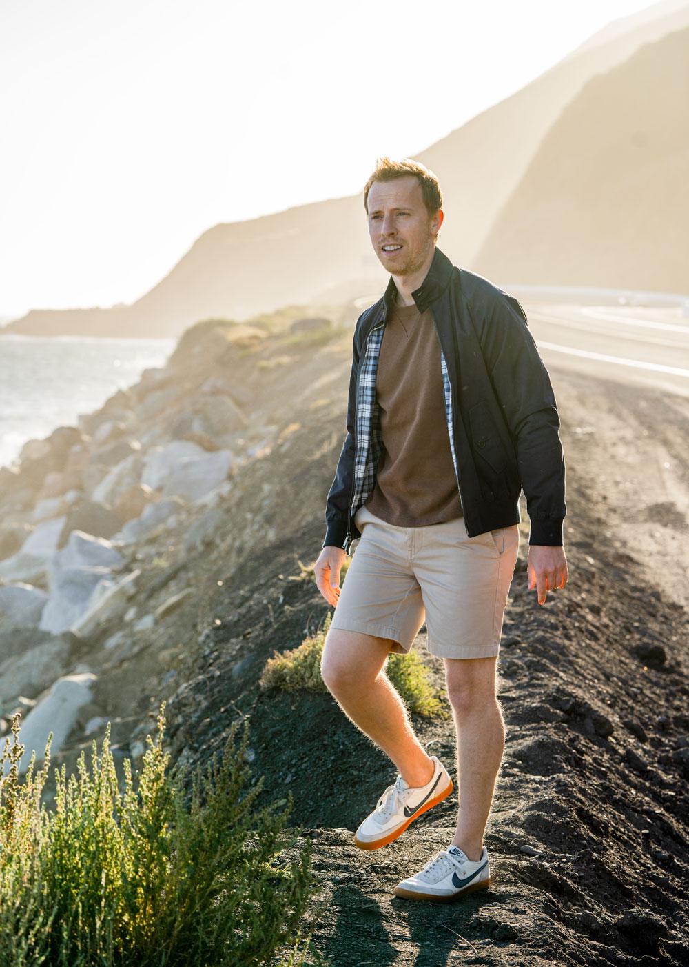 harrington jacket sweatshirt khaki shorts sneakers