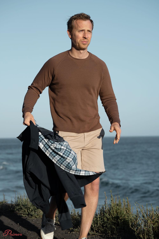 raglan crew sweatshirt khaki shorts blue Harrington jacket