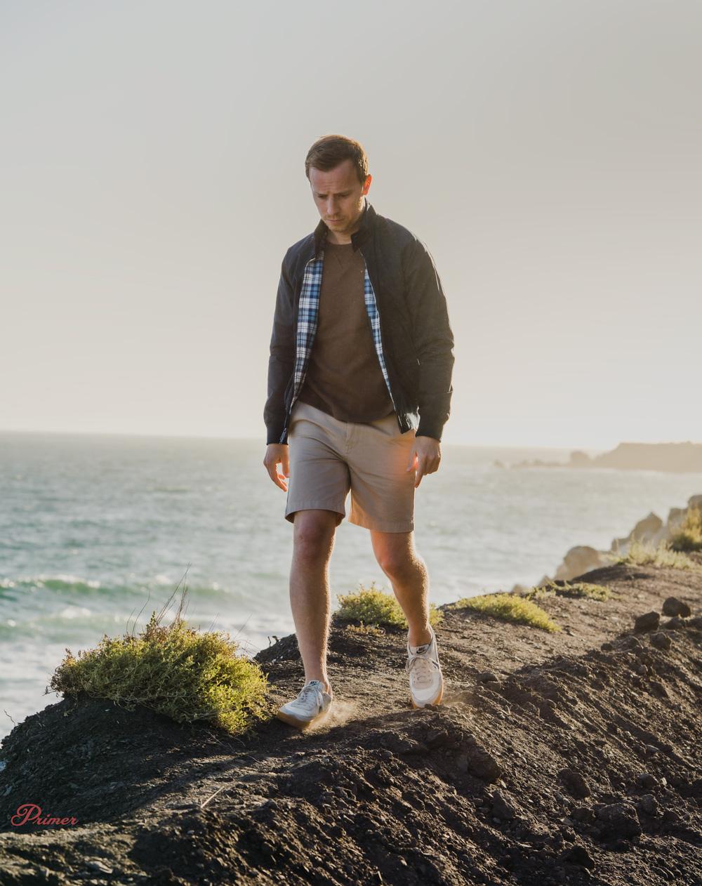 men summer fashion inspiration harrington jacket chino shorts beach