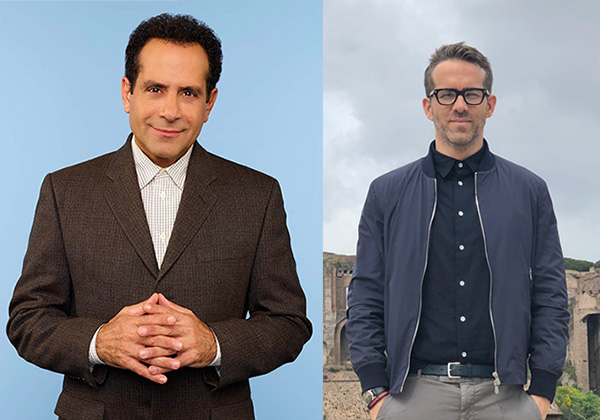 Tony Shalhoub, Ryan Reynolds are posing for a picture
