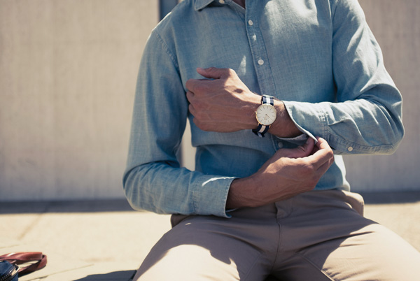 business casual out with canvas NATO watch