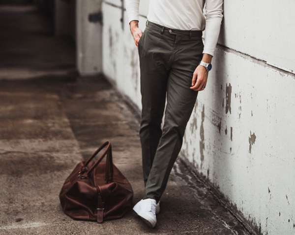white sneakers with dress pants