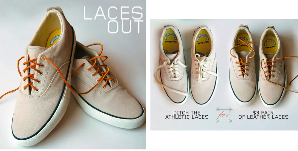 canvas sneakers with leather laces