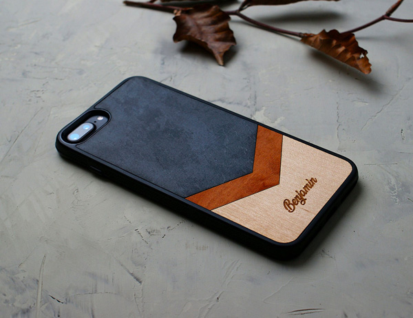 wood and leather phone case