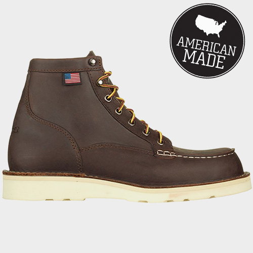 A close up of american made boots