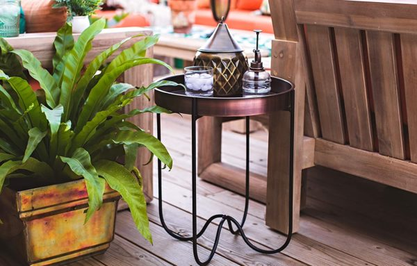 copper table balcony makeover