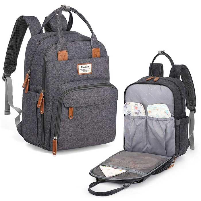 gray men's diaper bag backpack