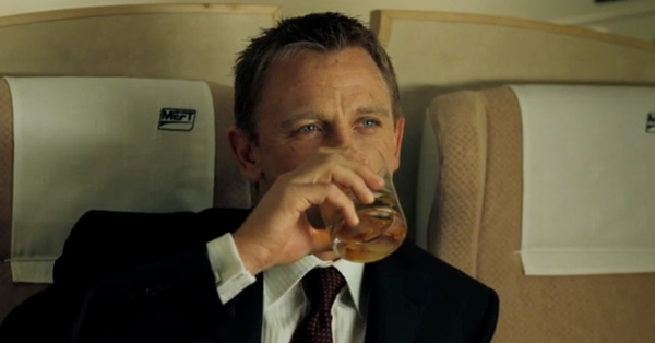 james bond drinking whiskey